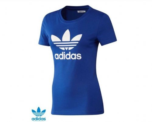 adidas Original Women's Trefoil  T-shirt Tee Blue Z37970  BNWT free UK delivery